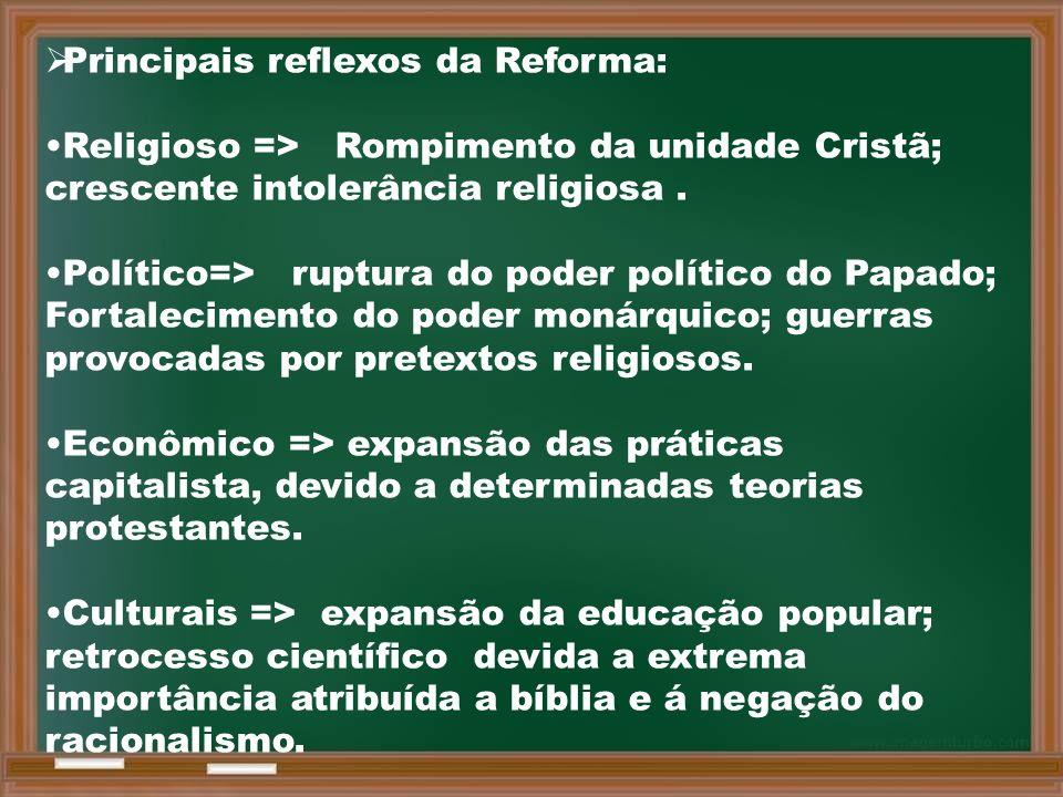  Principais reflexos da Reforma: Religioso => Rompimento da unidade Cristã; crescente intolerância religiosa.