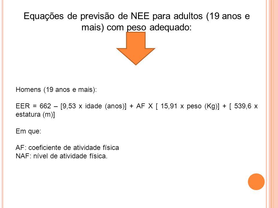 Equações de previsão de NEE para adultos (19 anos e mais) com peso adequado: Homens (19 anos e mais): EER = 662 – [9,53 x idade (anos)] + AF X [ 15,91 x peso (Kg)] + [ 539,6 x estatura (m)] Em que: AF: coeficiente de atividade física NAF: nível de atividade física.