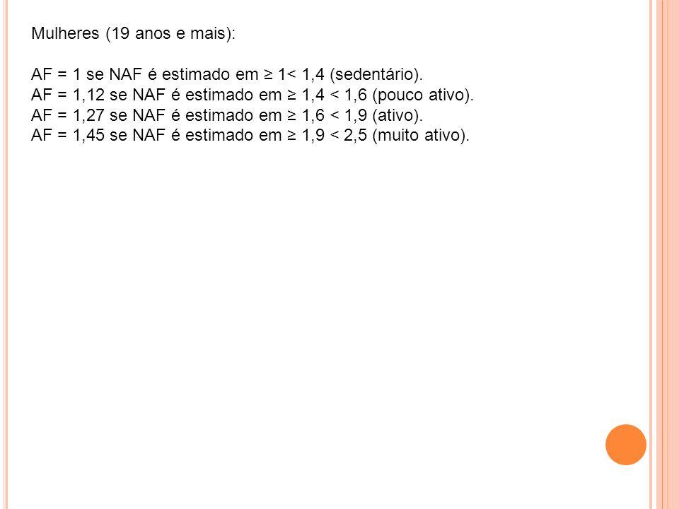 Mulheres (19 anos e mais): AF = 1 se NAF é estimado em ≥ 1< 1,4 (sedentário).