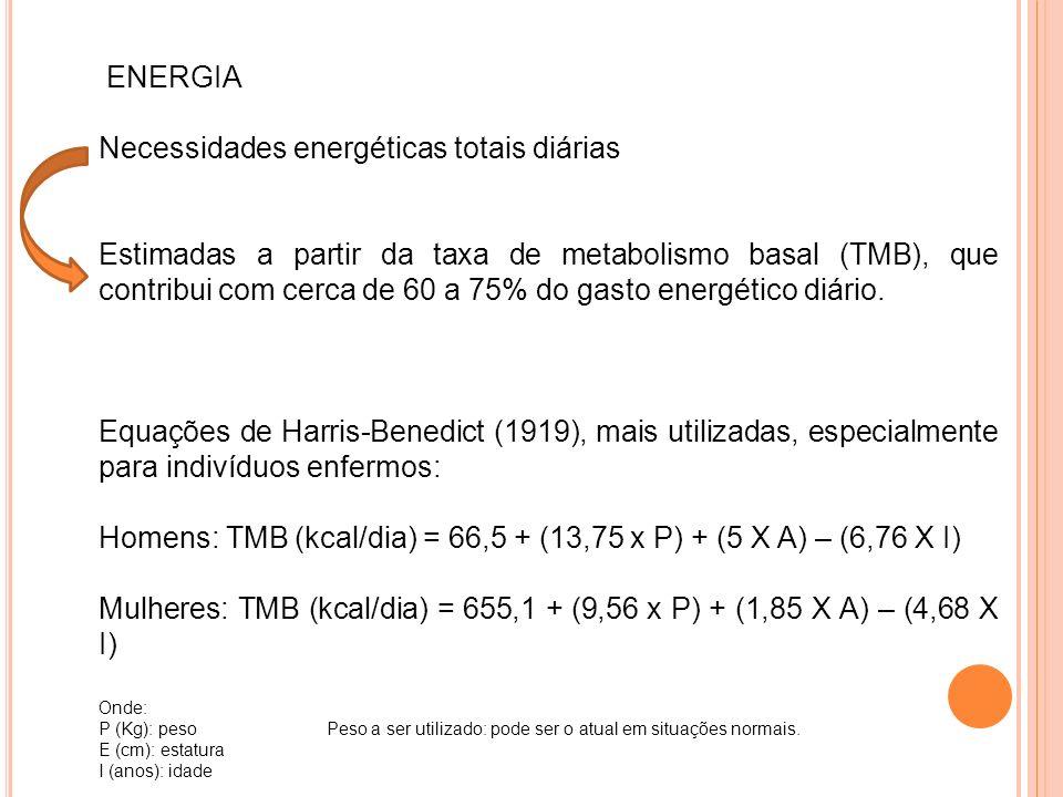 ENERGIA Necessidades energéticas totais diárias Estimadas a partir da taxa de metabolismo basal (TMB), que contribui com cerca de 60 a 75% do gasto energético diário.