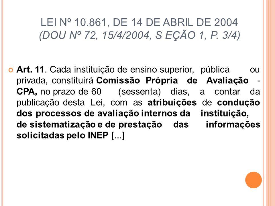 LEI Nº 10.861, DE 14 DE ABRIL DE 2004 (DOU Nº 72, 15/4/2004, S EÇÃO 1, P. 3/4) Art. 11. Cada instituição de ensino superior, pública ou privada, const
