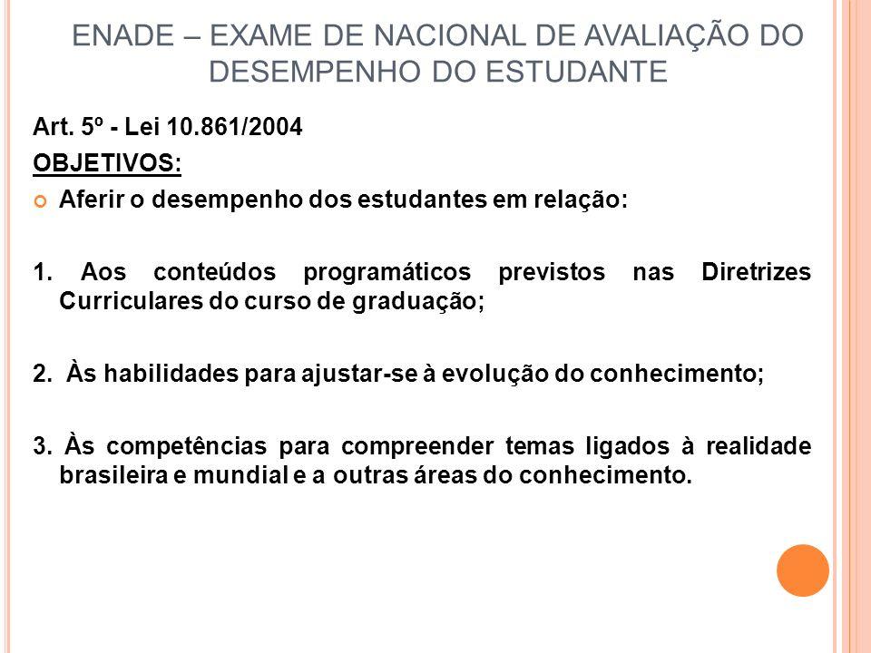 ENADE – EXAME DE NACIONAL DE AVALIAÇÃO DO DESEMPENHO DO ESTUDANTE Art.