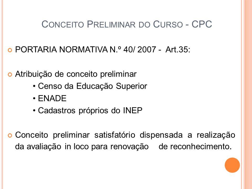 C ONCEITO P RELIMINAR DO C URSO - CPC PORTARIA NORMATIVA N.º 40/ 2007 - Art.35: Atribuição de conceito preliminar Censo da Educação Superior ENADE Cad