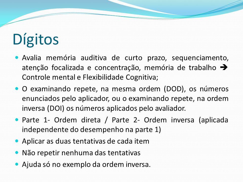 Dígitos Avalia memória auditiva de curto prazo, sequenciamento, atenção focalizada e concentração, memória de trabalho  Controle mental e Flexibilida