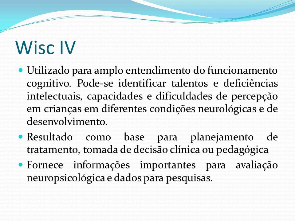 Wisc IV Utilizado para amplo entendimento do funcionamento cognitivo. Pode-se identificar talentos e deficiências intelectuais, capacidades e dificuld