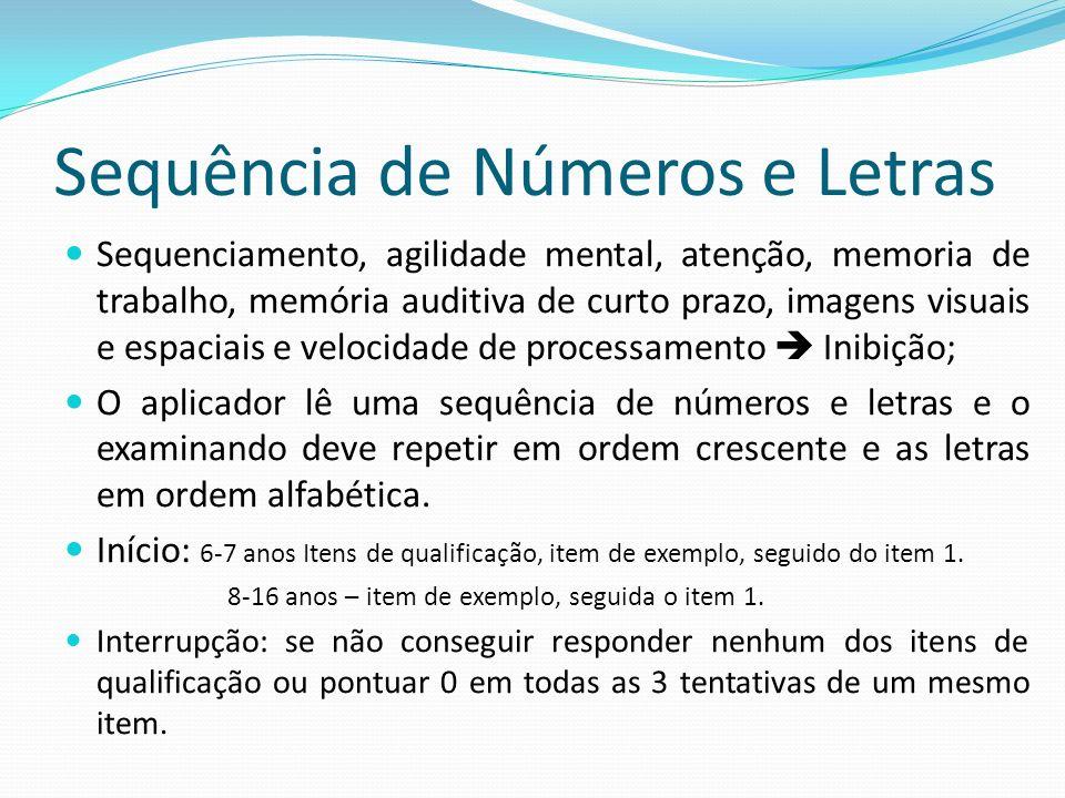 Sequência de Números e Letras Sequenciamento, agilidade mental, atenção, memoria de trabalho, memória auditiva de curto prazo, imagens visuais e espac
