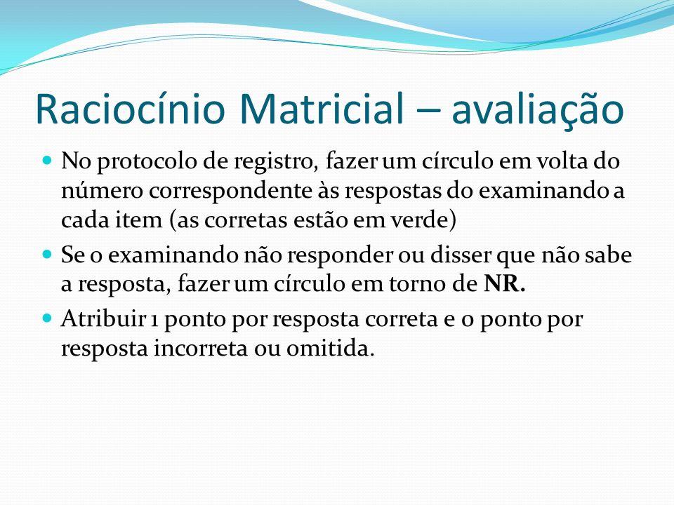 Raciocínio Matricial – avaliação No protocolo de registro, fazer um círculo em volta do número correspondente às respostas do examinando a cada item (