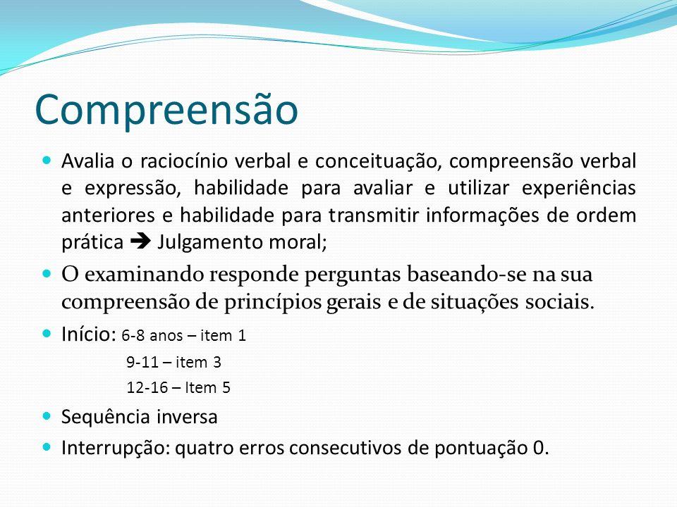 Compreensão Avalia o raciocínio verbal e conceituação, compreensão verbal e expressão, habilidade para avaliar e utilizar experiências anteriores e ha