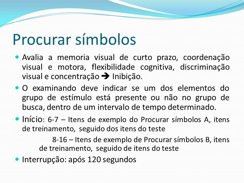 Procurar símbolos Avalia a memoria visual de curto prazo, coordenação visual e motora, flexibilidade cognitiva, discriminação visual e concentração 