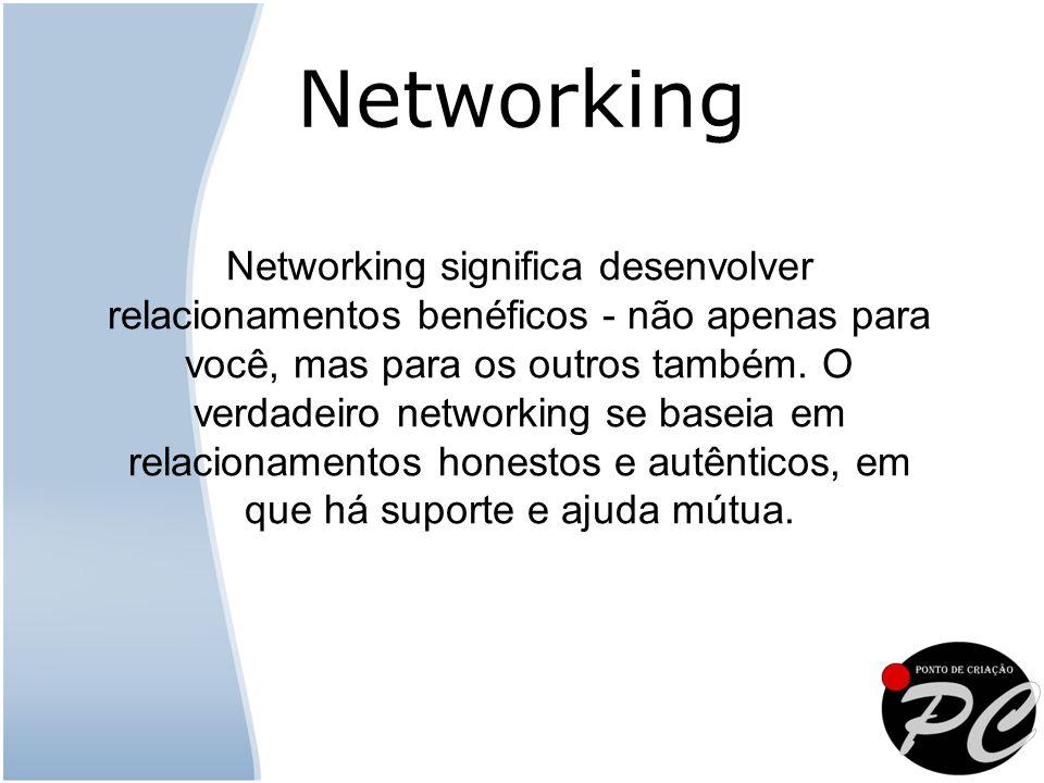 Networking significa desenvolver relacionamentos benéficos - não apenas para você, mas para os outros também.