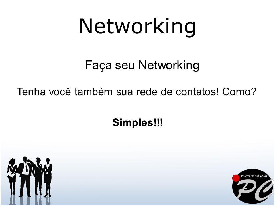 Faça seu Networking Tenha você também sua rede de contatos! Como? Simples!!! Networking