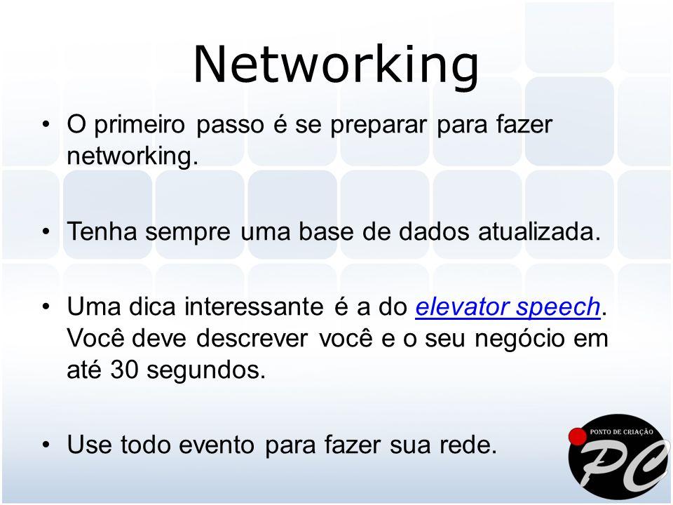 O primeiro passo é se preparar para fazer networking. Tenha sempre uma base de dados atualizada. Uma dica interessante é a do elevator speech. Você de