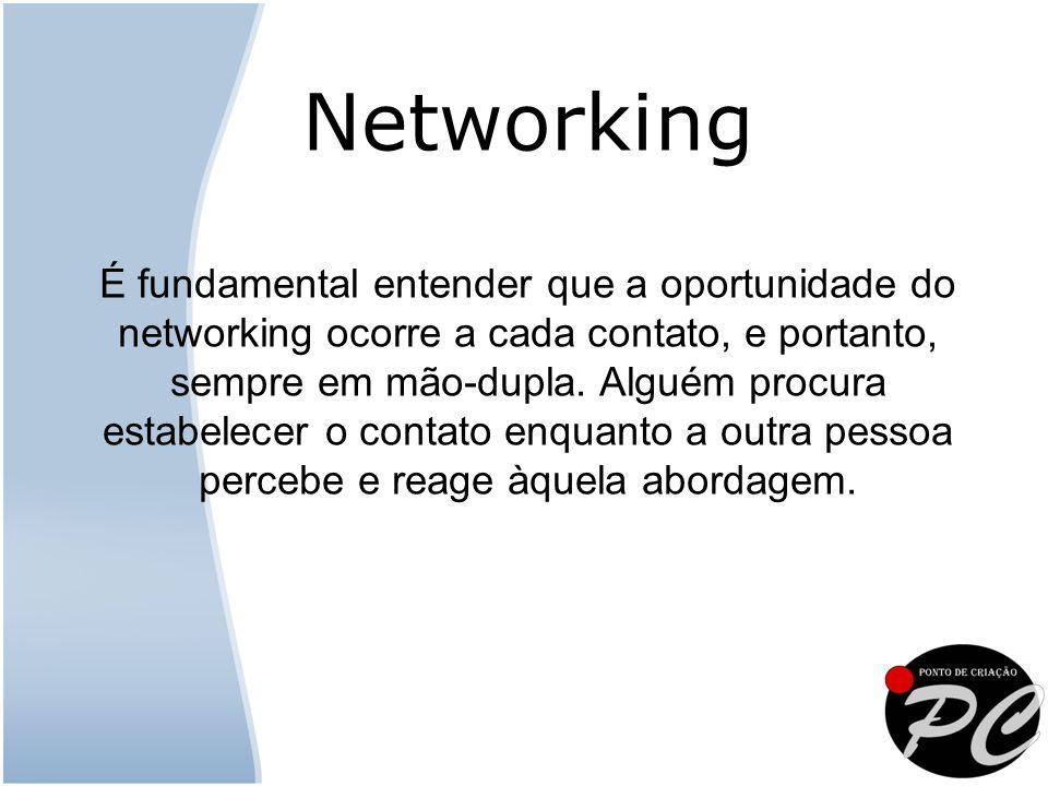 É fundamental entender que a oportunidade do networking ocorre a cada contato, e portanto, sempre em mão-dupla. Alguém procura estabelecer o contato e