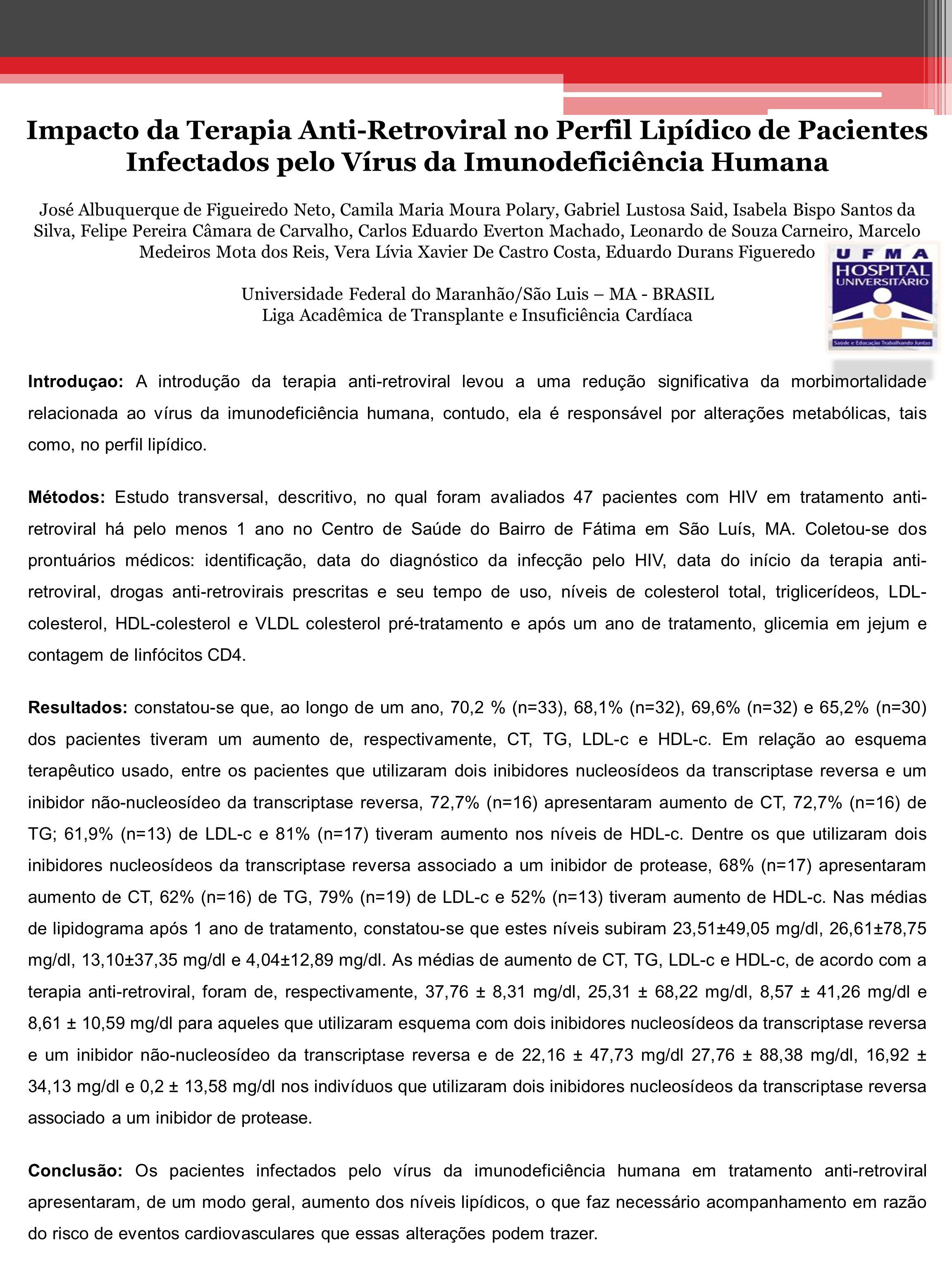 Impacto da Terapia Anti-Retroviral no Perfil Lipídico de Pacientes Infectados pelo Vírus da Imunodeficiência Humana José Albuquerque de Figueiredo Net