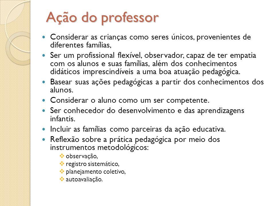 Ação do professor Considerar as crianças como seres únicos, provenientes de diferentes famílias, Ser um profissional flexível, observador, capaz de te