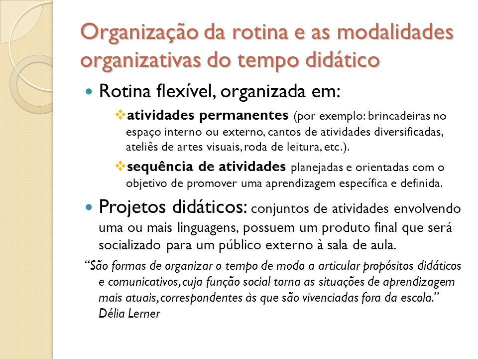 Organização da rotina e as modalidades organizativas do tempo didático Rotina flexível, organizada em:  atividades permanentes (por exemplo: brincade
