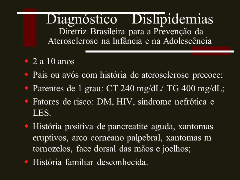 Diagnóstico – Dislipidemias Diretriz Brasileira para a Prevenção da Aterosclerose na Infância e na Adolescência  2 a 10 anos  Pais ou avós com história de aterosclerose precoce;  Parentes de 1 grau: CT 240 mg/dL/ TG 400 mg/dL;  Fatores de risco: DM, HIV, síndrome nefrótica e LES.