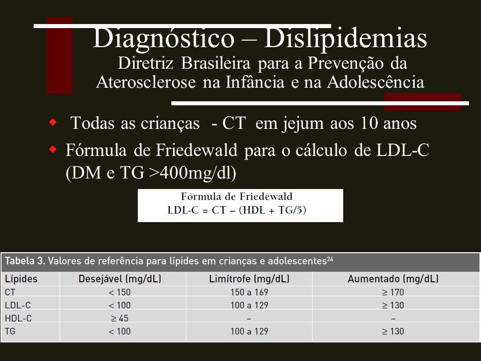 Diagnóstico – Dislipidemias Diretriz Brasileira para a Prevenção da Aterosclerose na Infância e na Adolescência  Todas as crianças - CT em jejum aos 10 anos  Fórmula de Friedewald para o cálculo de LDL-C (DM e TG >400mg/dl) Fonte: Giuliano,200