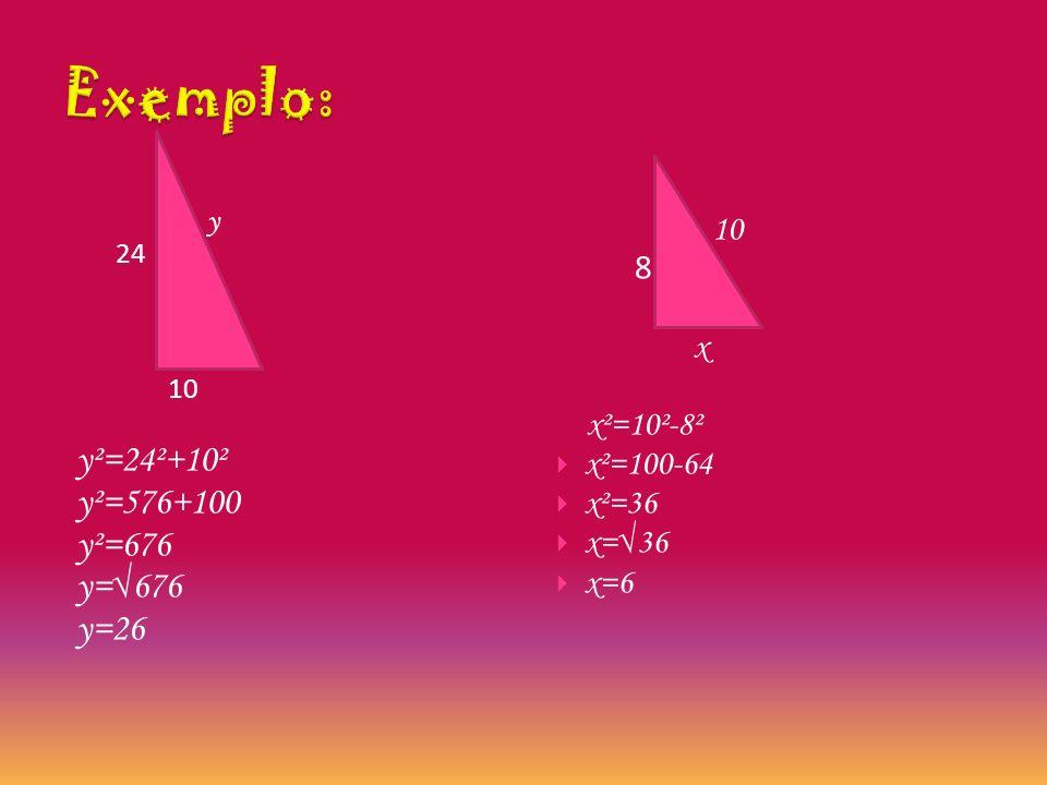 Quando se quer descobrir a hipotenusa : c y c QQuando se quer descobrir um cateto:  x h c y ²=c²+c² x ²=h²-c²