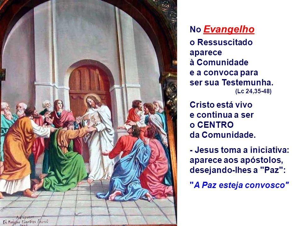 No Evangelho o Ressuscitado aparece à Comunidade e a convoca para ser sua Testemunha.
