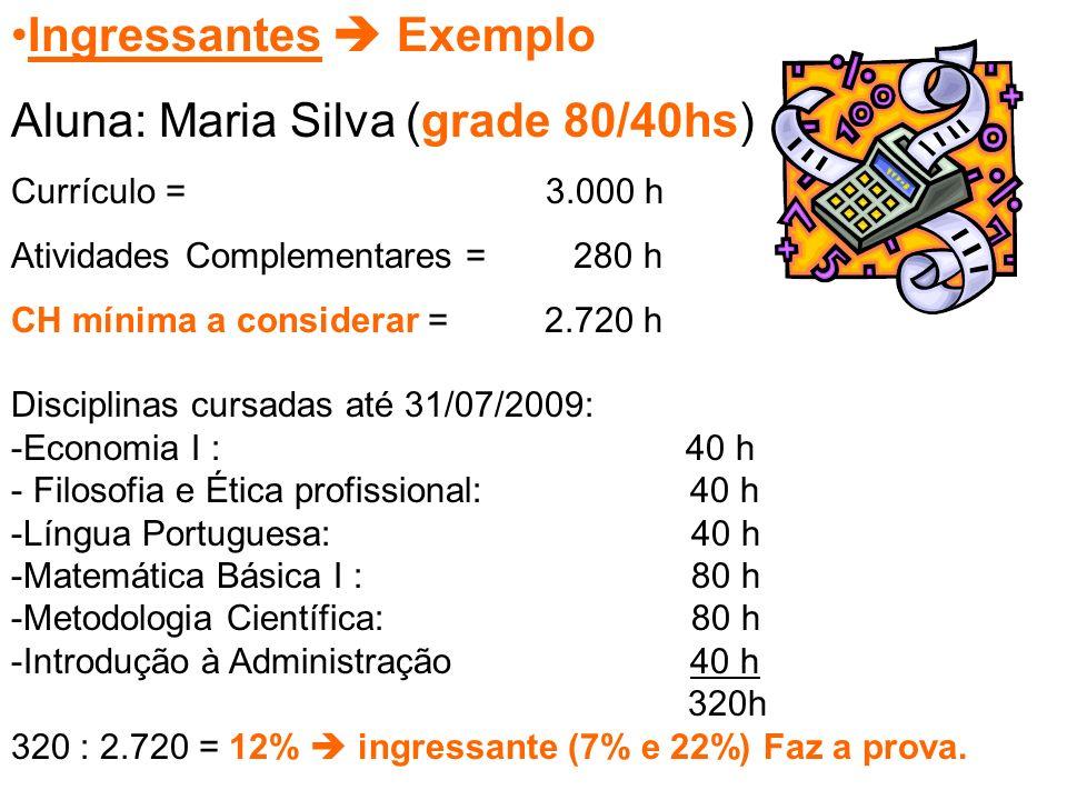 Ingressantes  Exemplo Aluna: Maria Silva (grade 80/40hs) Currículo = 3.000 h Atividades Complementares = 280 h CH mínima a considerar =2.720 h Disciplinas cursadas até 31/07/2009: -Economia I : 40 h - Filosofia e Ética profissional: 40 h -Língua Portuguesa: 40 h -Matemática Básica I : 80 h -Metodologia Científica: 80 h -Introdução à Administração 40 h 320h 320 : 2.720 = 12%  ingressante (7% e 22%) Faz a prova.