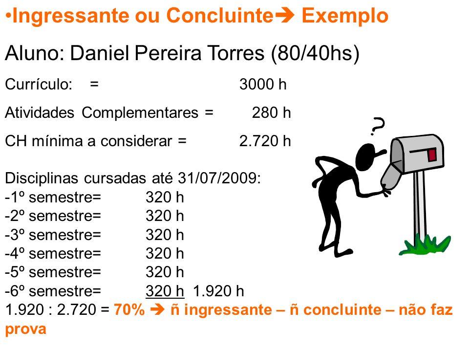 Ingressante ou Concluinte  Exemplo Aluno: Daniel Pereira Torres (80/40hs) Currículo: = 3000 h Atividades Complementares = 280 h CH mínima a considerar =2.720 h Disciplinas cursadas até 31/07/2009: -1º semestre=320 h -2º semestre=320 h -3º semestre=320 h -4º semestre=320 h -5º semestre=320 h -6º semestre=320 h1.920 h 1.920 : 2.720 = 70%  ñ ingressante – ñ concluinte – não faz prova