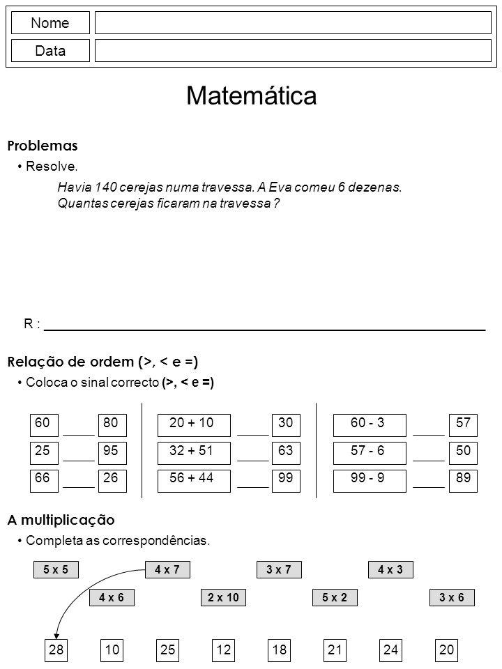 Nome Data Matemática Havia 140 cerejas numa travessa.