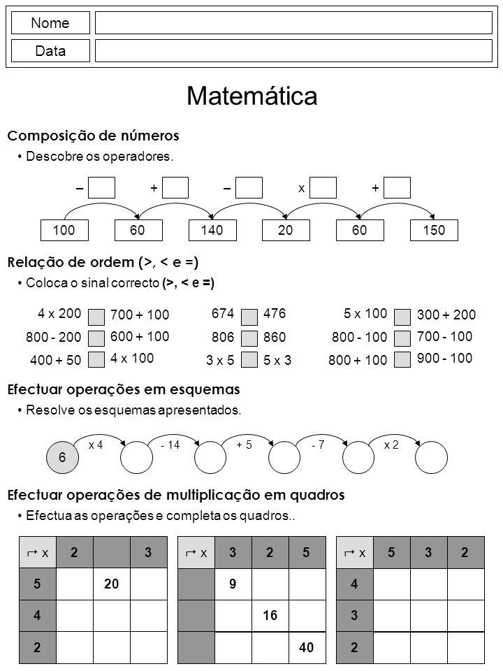 Nome Data Matemática Composição de números Descobre os operadores.
