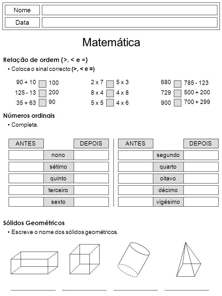 Escreve o nome dos sólidos geométricos.