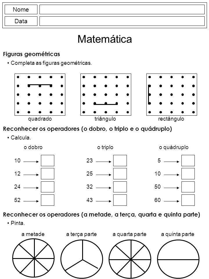 Figuras geométricas Completa as figuras geométricas.