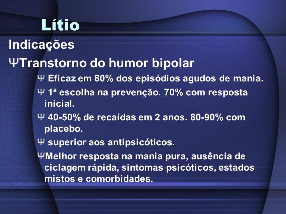 Lítio Indicações ΨTranstorno do humor bipolar Ψ Eficaz em 80% dos episódios agudos de mania. Ψ 1ª escolha na prevenção. 70% com resposta inicial. Ψ 40