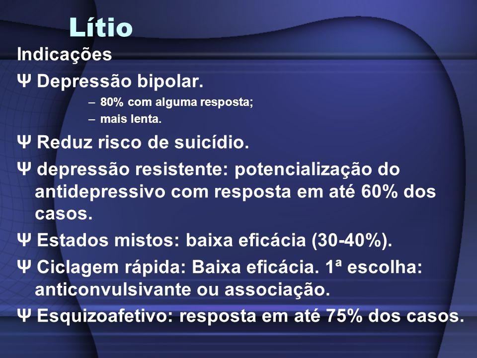 Lítio Indicações Ψ Depressão bipolar. –80% com alguma resposta; –mais lenta. Ψ Reduz risco de suicídio. Ψ depressão resistente: potencialização do ant
