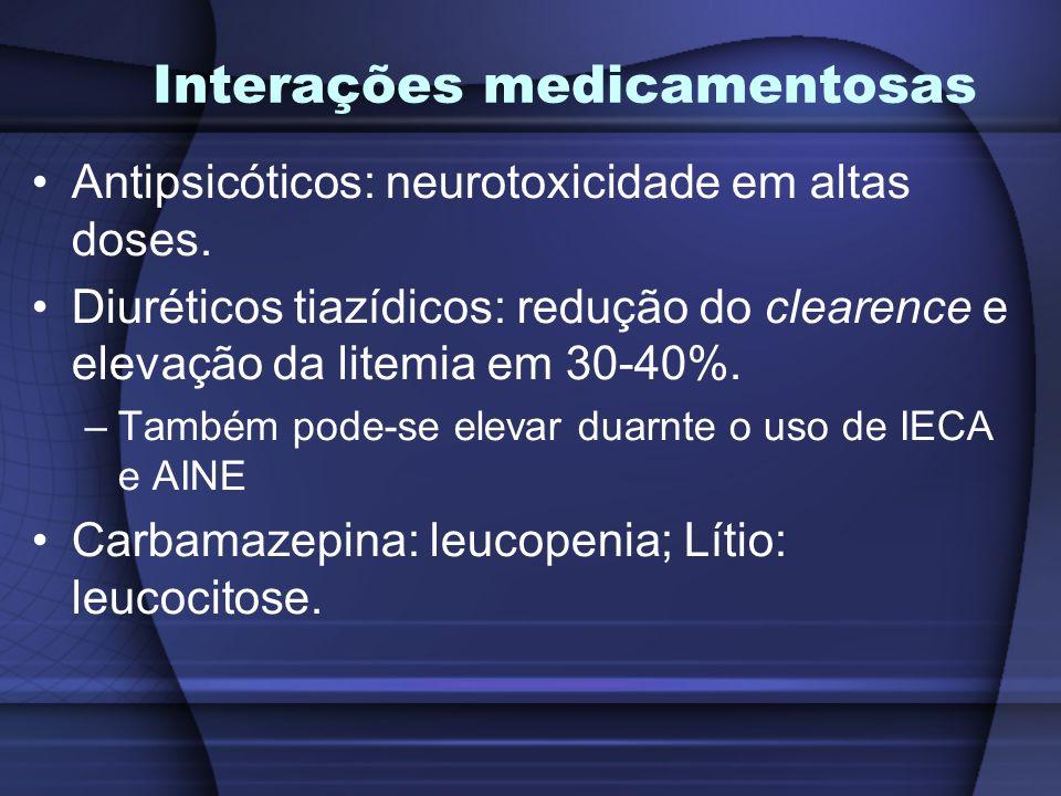 Interações medicamentosas Antipsicóticos: neurotoxicidade em altas doses. Diuréticos tiazídicos: redução do clearence e elevação da litemia em 30-40%.