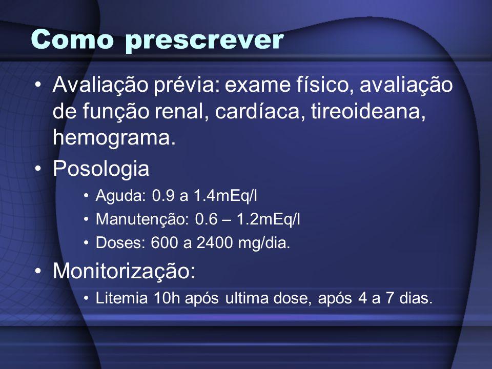 Como prescrever Avaliação prévia: exame físico, avaliação de função renal, cardíaca, tireoideana, hemograma. Posologia Aguda: 0.9 a 1.4mEq/l Manutençã