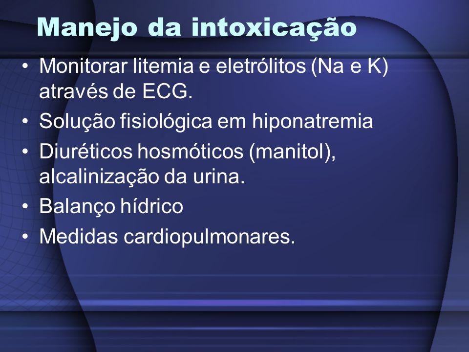 Manejo da intoxicação Monitorar litemia e eletrólitos (Na e K) através de ECG. Solução fisiológica em hiponatremia Diuréticos hosmóticos (manitol), al