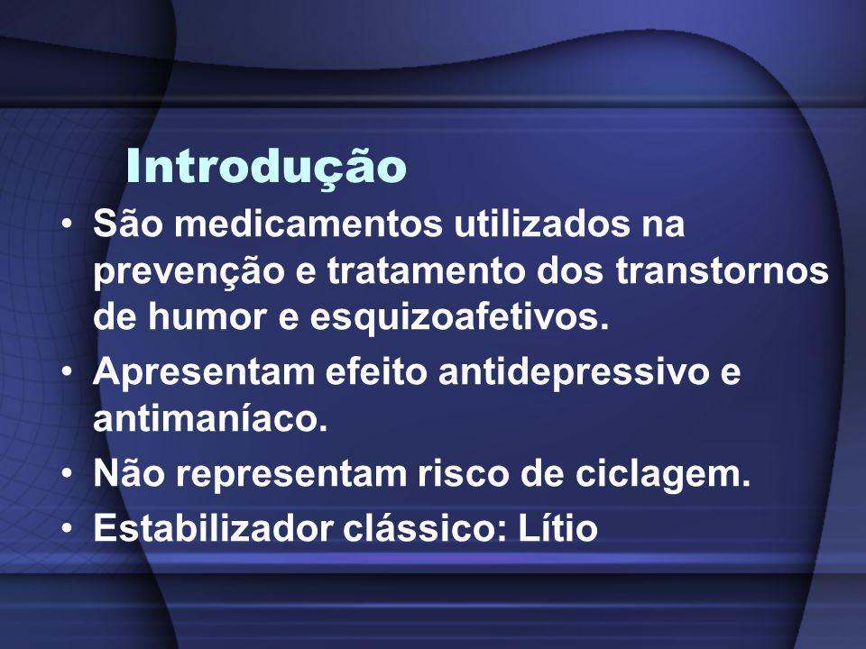 Introdução São medicamentos utilizados na prevenção e tratamento dos transtornos de humor e esquizoafetivos. Apresentam efeito antidepressivo e antima