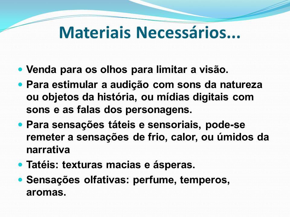 Materiais Necessários... Venda para os olhos para limitar a visão. Para estimular a audição com sons da natureza ou objetos da história, ou mídias dig