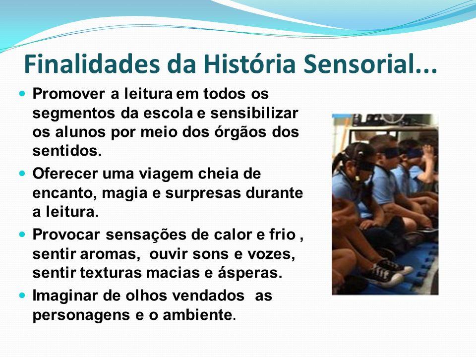 Finalidades da História Sensorial... Promover a leitura em todos os segmentos da escola e sensibilizar os alunos por meio dos órgãos dos sentidos. Ofe