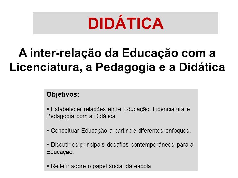 DIDÁTICA A inter-relação da Educação com a Licenciatura, a Pedagogia e a Didática Objetivos:  Estabelecer relações entre Educação, Licenciatura e Pedagogia com a Didática.