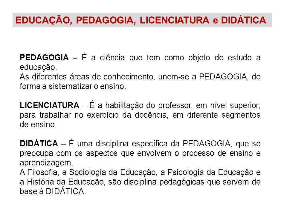 EDUCAÇÃO, PEDAGOGIA, LICENCIATURA e DIDÁTICA PEDAGOGIA – É a ciência que tem como objeto de estudo a educação. As diferentes áreas de conhecimento, un