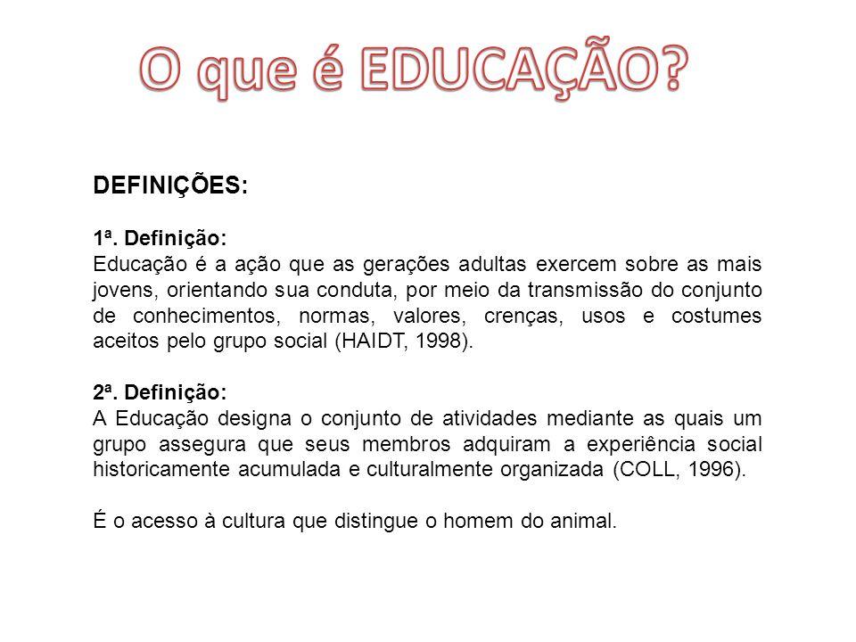 DEFINIÇÕES: 1ª. Definição: Educação é a ação que as gerações adultas exercem sobre as mais jovens, orientando sua conduta, por meio da transmissão do