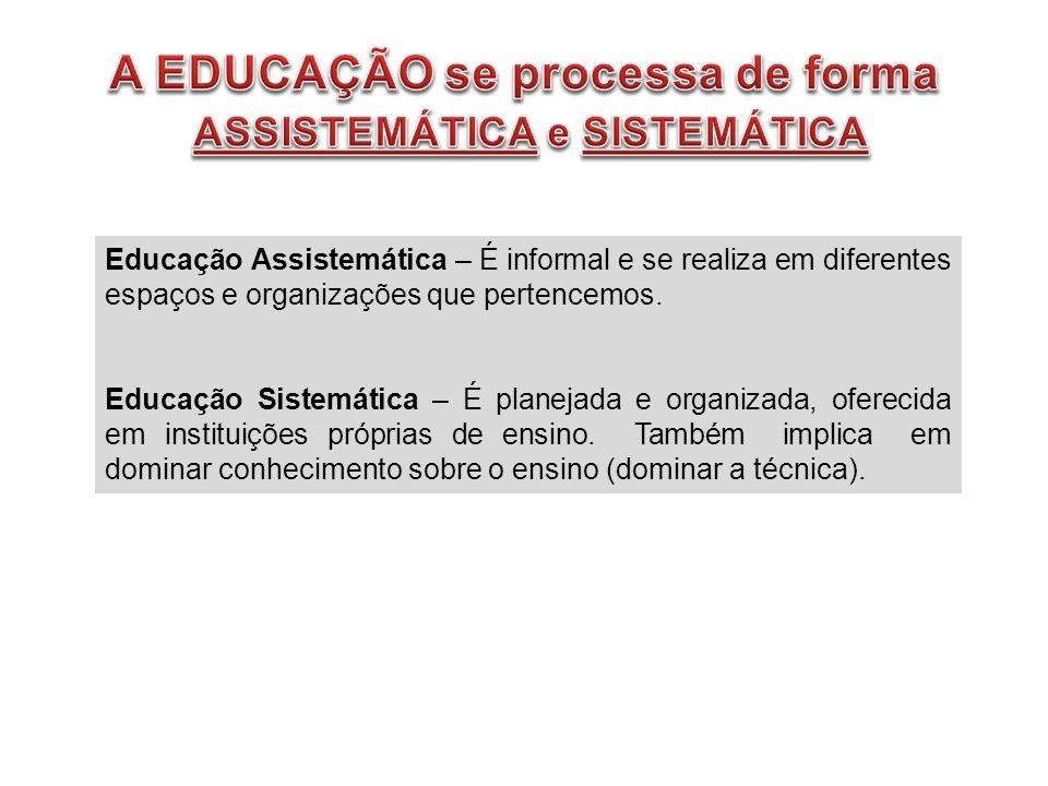 Educação Assistemática – É informal e se realiza em diferentes espaços e organizações que pertencemos. Educação Sistemática – É planejada e organizada