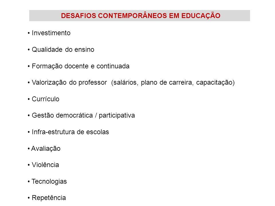 DESAFIOS CONTEMPORÂNEOS EM EDUCAÇÃO Investimento Qualidade do ensino Formação docente e continuada Valorização do professor (salários, plano de carrei