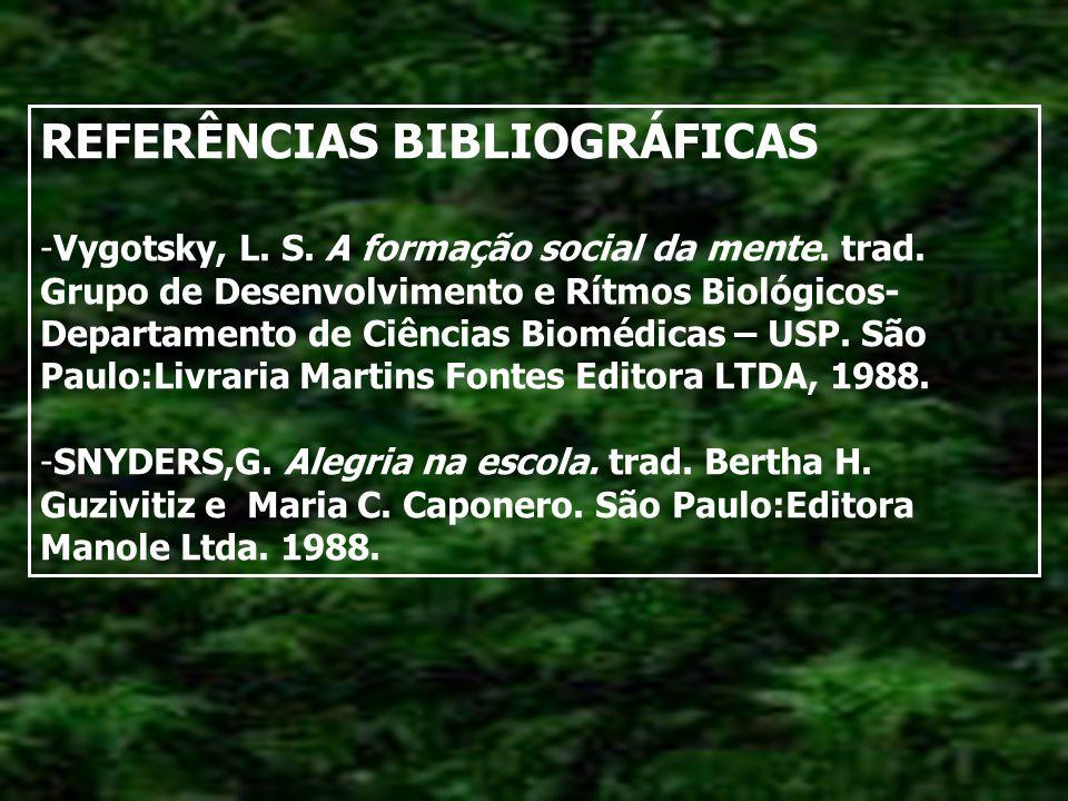 REFERÊNCIAS BIBLIOGRÁFICAS -Vygotsky, L.S. A formação social da mente.