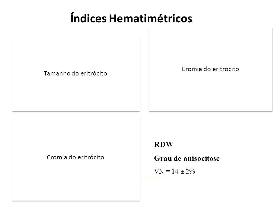 VCM Volume corpuscular médio Hct x 10 / Número de hemácias (milhões/ul) VN = 90  10 fl HCM Hemoglobina corpuscular média Hb (g/l) / Número de hemácias (milhões/ul) VN = 29  2 pg CHCM Concentração de hemoglobina corpuscular média Hb (g/dl) x 100 /Hct (%) VN = 34  2% Índices Hematimétricos RDW Grau de anisocitose VN = 14  2% Tamanho do eritrócito Cromia do eritrócito