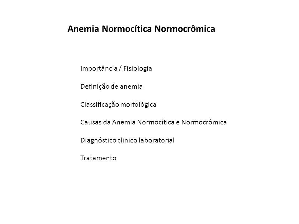 Importância / Fisiologia Definição de anemia Classificação morfológica Causas da Anemia Normocítica e Normocrômica Diagnóstico clinico laboratorial Tratamento Anemia Normocítica Normocrômica