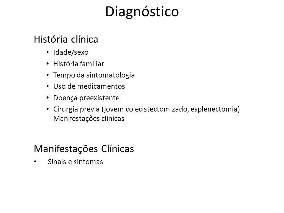 Diagnóstico História clínica Idade/sexo História familiar Tempo da sintomatologia Uso de medicamentos Doença preexistente Cirurgia prévia (jovem colecistectomizado, esplenectomia) Manifestações clínicas Manifestações Clínicas Sinais e sintomas