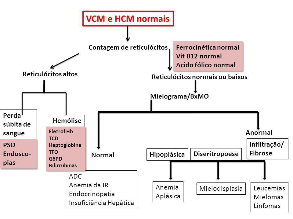 VCM e HCM normais Contagem de reticulócitos Reticulócitos altos Reticulócitos normais ou baixos Perda súbita de sangue Hemólise Mielograma/BxMO Normal Anormal ADC Anemia da IR Endocrinopatia Insuficiência Hepática Hipoplásica Diseritropoese Infiltração/ Fibrose Anemia Aplásica Mielodisplasia Leucemias Mielomas Linfomas Ferrocinética normal Vit B12 normal Acido fólico normal Ferrocinética normal Vit B12 normal Acido fólico normal Eletrof Hb TCD Haptoglobina TFO G6PD Bilirrubinas Eletrof Hb TCD Haptoglobina TFO G6PD Bilirrubinas PSO Endosco- pias PSO Endosco- pias