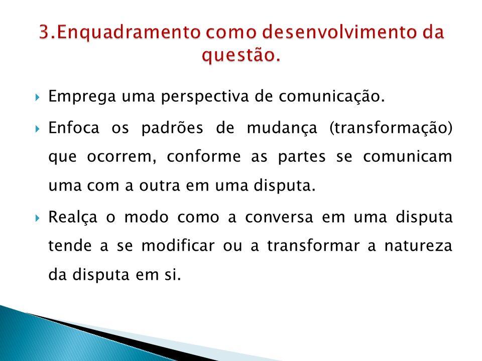  Emprega uma perspectiva de comunicação.