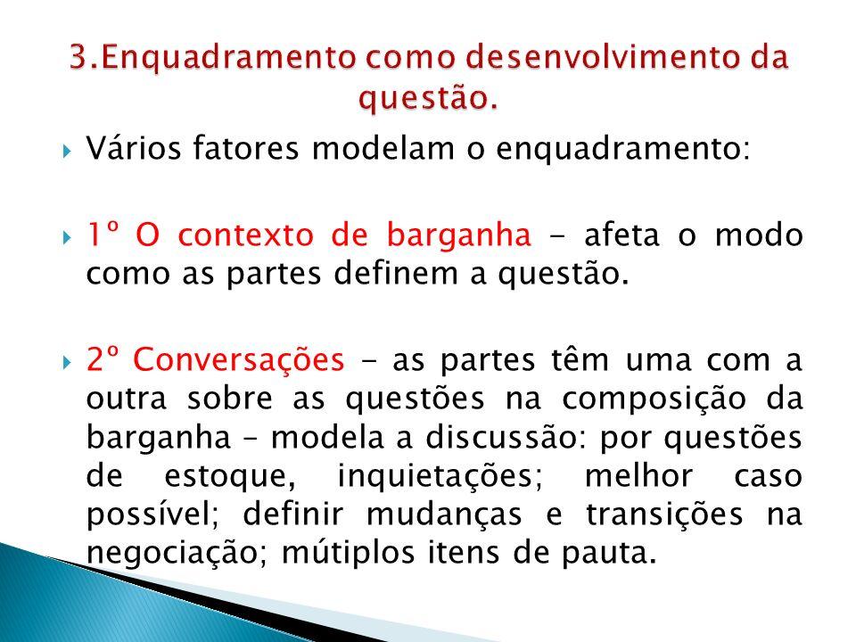  Vários fatores modelam o enquadramento:  1º O contexto de barganha - afeta o modo como as partes definem a questão.
